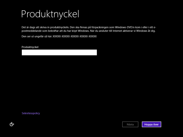 Installera Windows 8 utan produktnyckel