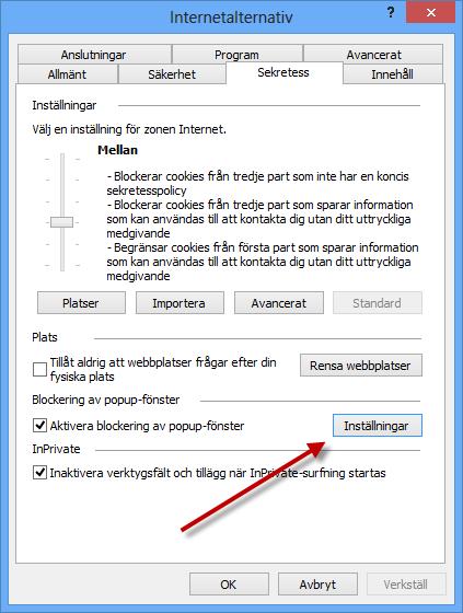 Inställningar för popup i Internet Explorers Internetalternativ