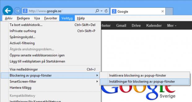 Inställningar för popup i Internet Explorer