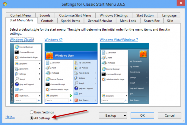 Konfigurera Clasiic Shell i Windows 8