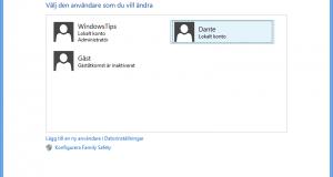 Ändra användarkonto i Windows 8