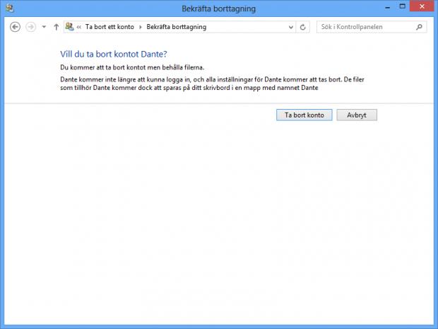 Behåll filer vid radering av användarkonto