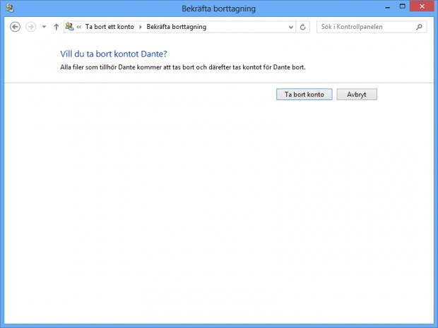 Radera filer vid radering av användarkonto