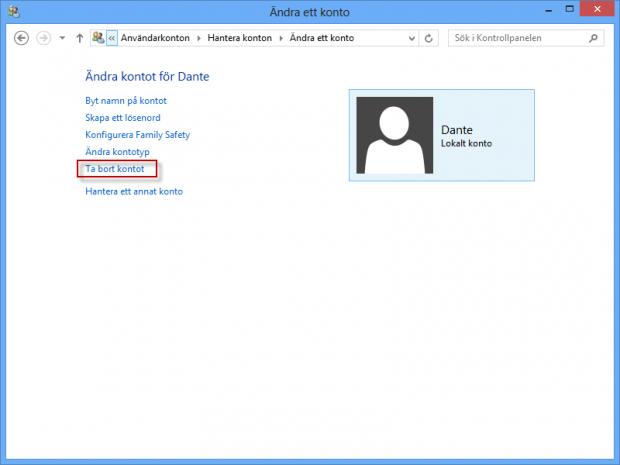 Ta bort användarkonto i Windows 8