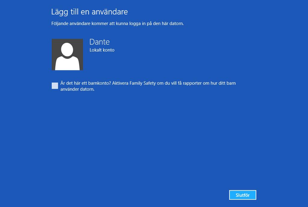 Skapa användare i Windows 8