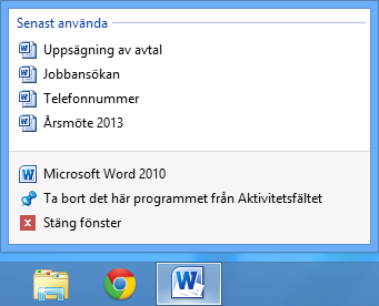 Snabblista på Word i Windows 8
