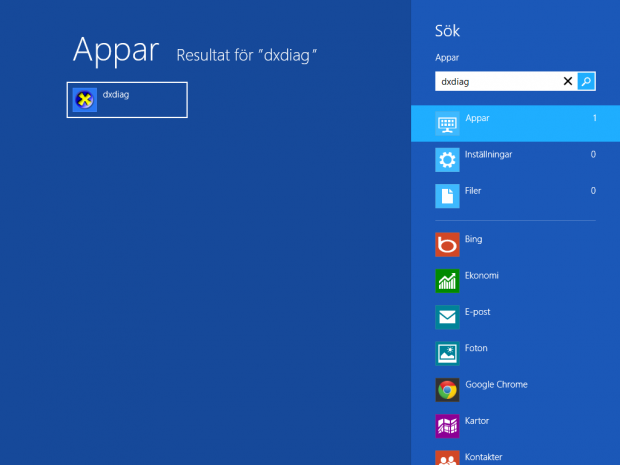 Starta dxdiag i Windows 8