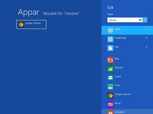 Starta Google Chrome i Windows 8