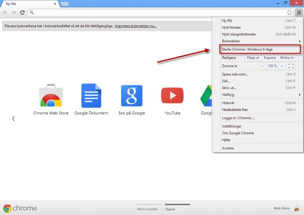 Starta Google Chrome i startläge