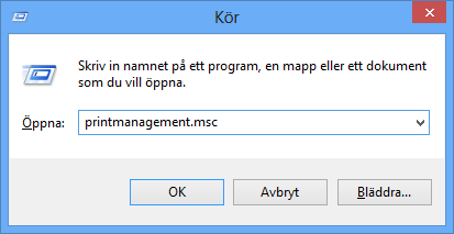 Starta utskriftshantering i Windows 8