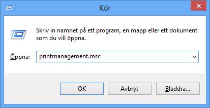 Starta utskriftshantering i Windows 8