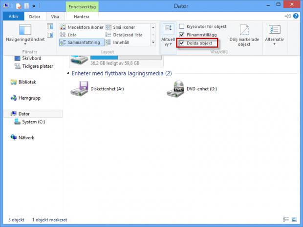 Visa dolda filer i Windows 8