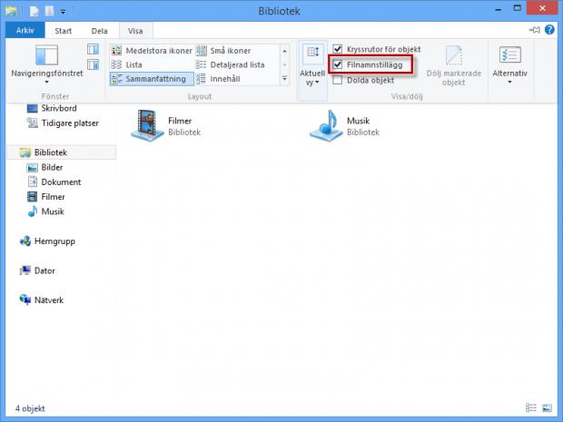 Visa filändelse i Windows 8