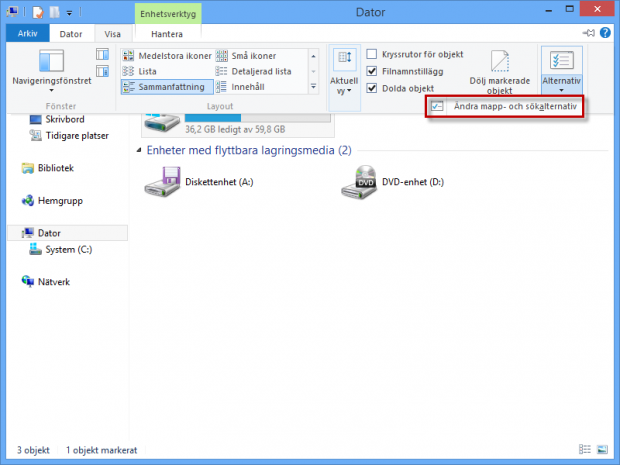 Visa mappalternativ i Windows 8