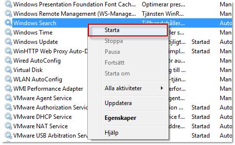Starta tjänsten Windows Search