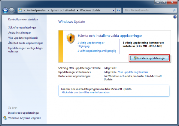 Windows Update installera uppdateringar