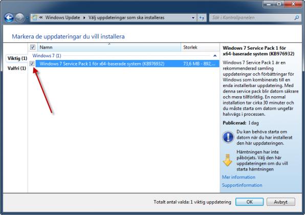 Windows Update Service Pack 1