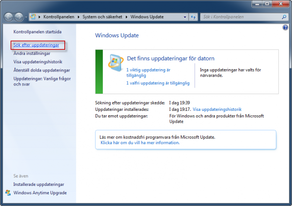 Windows Update Sök efter uppdateringar