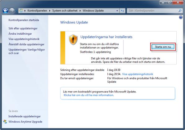 Windows Update starta om datorn