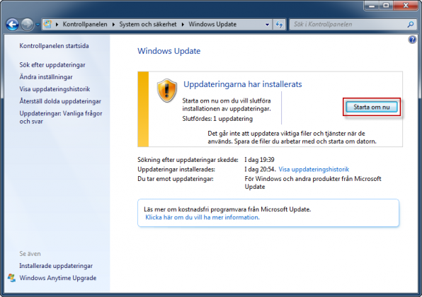 Windows Update starta om datorn