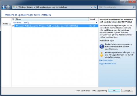 Uppdatering för webbläsarval