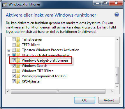 Installera Windows Gadget-plattformen