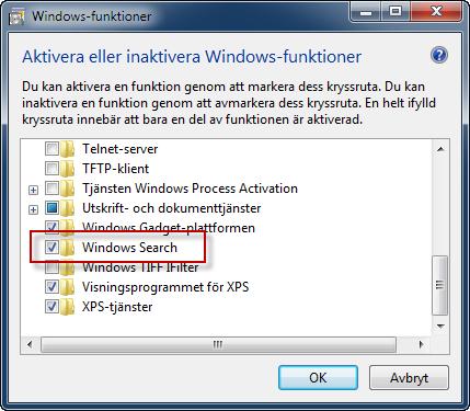 Installera Windows Search